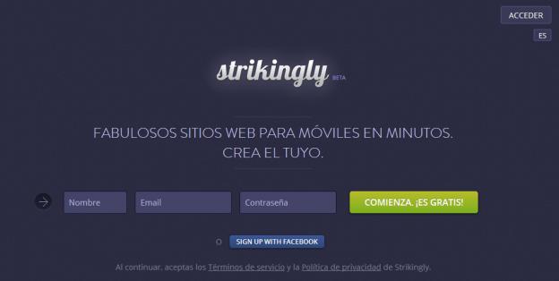 Strikingly: crea una pàgina web en pocs minuts